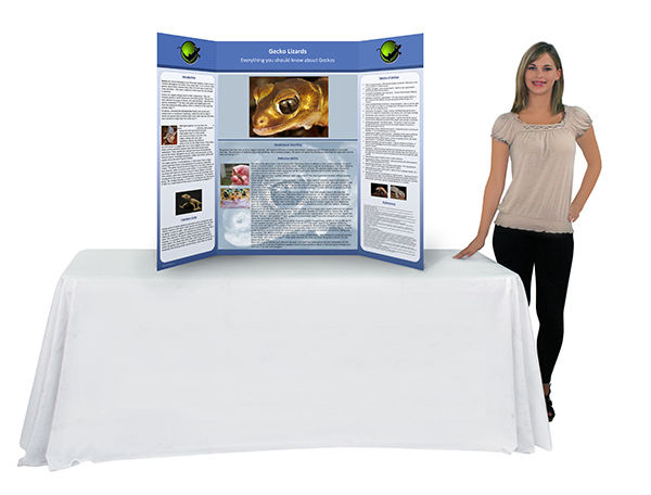 Trifold tabletop poster boards