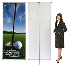 L rollup banner stand